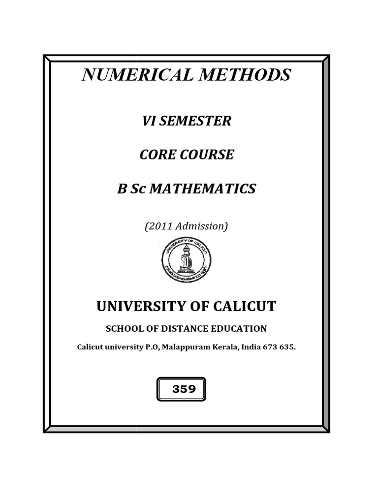 Guide to BSc Numerical Methods | Numerical Analysis | Finite Difference
