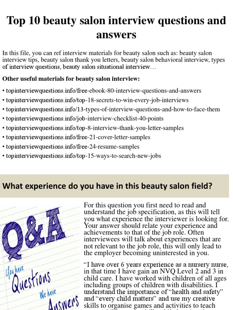 top 10 beauty salon interview questions and answerspptx interview job interview - Nursery Nurse Interview Questions And Answers