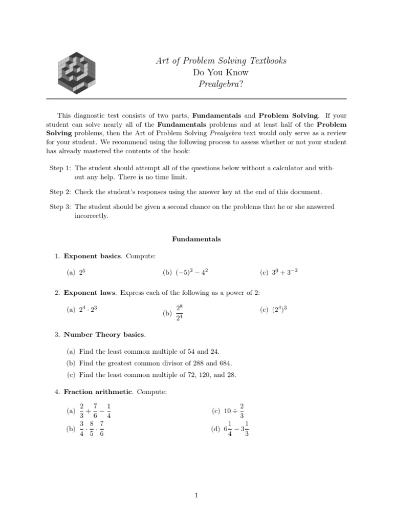 AoPS Post Test Prealgebra | Fraction (Mathematics) | Numbers