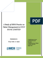 A Study of Hrm Practice as Talent Management in Icici Bank Limited