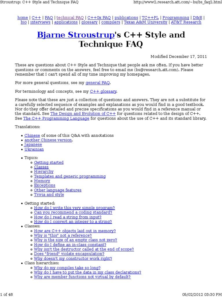 Bjarnestroustrupc Style C Class Computer Programming