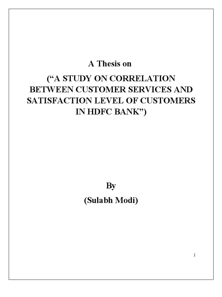Thesis on customer satisfaction in banks