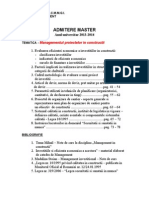 Admitere master Managementul Proiectelor in Constructii