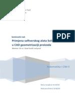 Primjena Softverskog Alata Solid Works u CAD Geometrizaciji Proizvoda