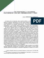 Javier Hernando Carrasco. de La Apropiación Fotográfica a Los Medios Electrónicos