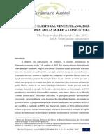 O CICLO ELEITORAL VENEZUELANO, 2012- 2013
