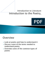 Introduction to Literature Intro to Poetry Unit Part One Types of Poems