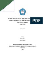 hubungan antara Motivasi perawat dengan Dokumentasi Asuhan Keperawatan di Puskesmas DTP. Losari Kabupaten Cirebon tahun 2014