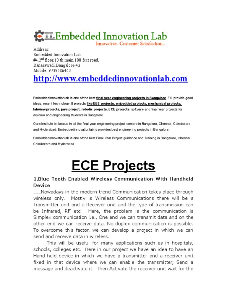 final year ece projects in bangalore | Bluetooth | Duplex