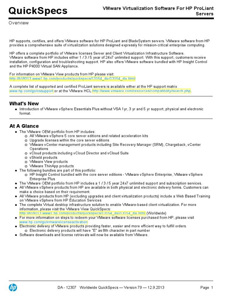 VMware Virtualization Software for HP ProLiant | V Mware | Virtual
