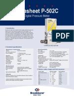 Datasheet P 502C pressure meter