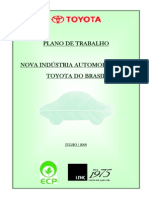 Plano de Trabalho Sobre a Implantacao Industrial Da Toyota Do Brasil