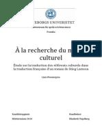 Étude Sur La Traduction Des Référents Culturels