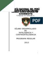 Silabo Desarrollado Inteligencia y Contra Int. IV Semestree Comandante Pnp Pino