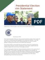 Sri Lanka Presidential Election 2015 Interim Statement