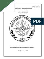64 Carta de Politica CP AV-0606 R1 Especificaciones de Registradores de Vuelo.
