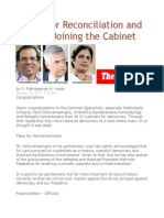 A Time for Reconciliation and the TNA Joining the Cabinet