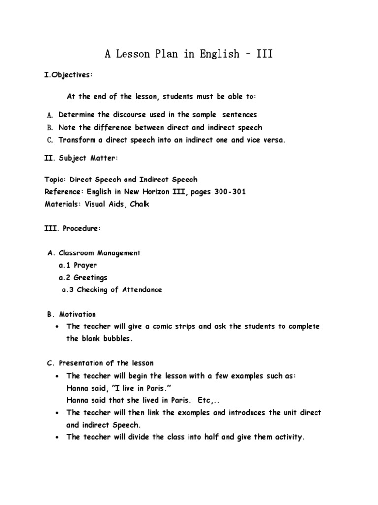 A Lesson Plan In Reported Speech Lesson Plan Communication