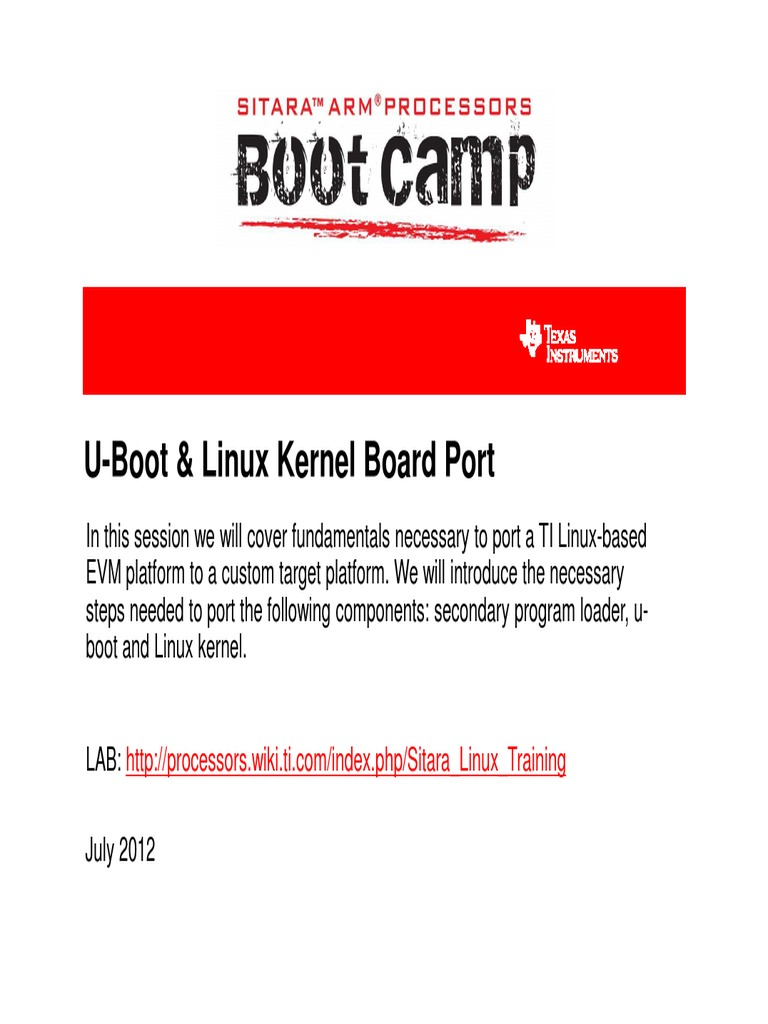 Sitara Boot Camp Uboot Linux Kernel Board Port | Linux | Booting