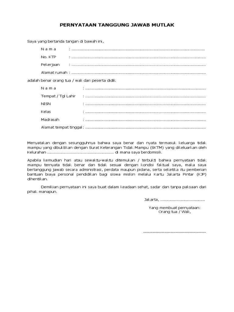 Surat Pernyataan Tanggung Jawab Mutlak Sptm Atas Kebenaran Sktm