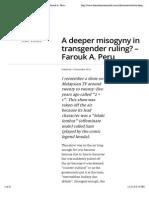 A Deeper Misogyny in Transgender Ruling