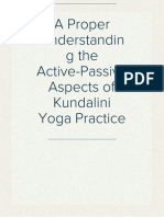 A Proper Understanding the Active-Passive Aspects of Kundalini Yoga Practice