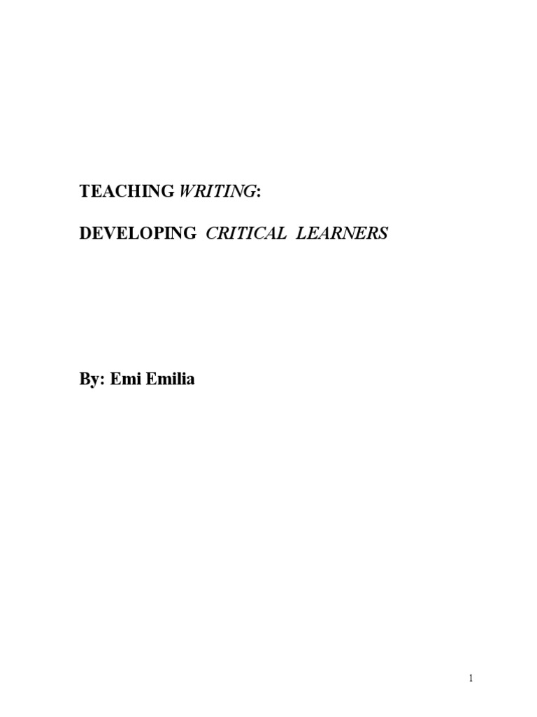 Emi Emilia - Teaching Writing Developing Critical Learners | English As A  Second Or Foreign Language | Clause