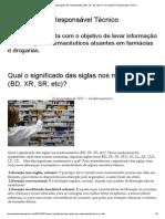 Qual o Significado Das Siglas Nos Medicamentos (BD, XR, SR, Etc)
