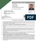 GATE 2015 Admit Card