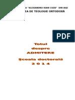 Brosura Admitere Doctorat 2014 Iasi teologie