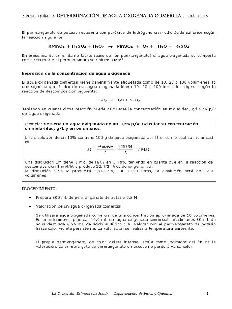 Peroxido De Hidrogeno Volumenes Porcentaje