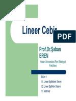 Lineer Cebir - Yaşar Üniversitesi Ders Notları