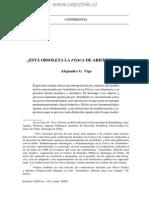 Artículo de Alejandro Vigo sobre la Fisica de Aristóteles