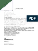 Offer Latter sample By SHISH RAM KHARESIYA SAMS IBM IHM VARANASI