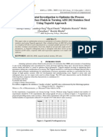 An Experimental Investigation to Optimize the Process Parameters of Surface Finish in Turning AISI 202 Stainless Steel Using Taguchi Approach