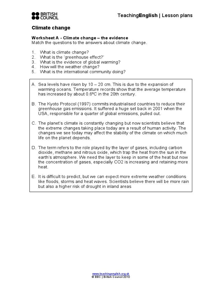 Climate Change Worksheets Global Natural Environment Natural