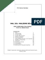 Malzeme Bilimi - İstanbul Teknik Üniversitesi Prof.dr. Ahmet Aran Ders Notları