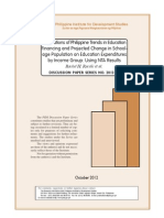 mplications of Philippine Trends in Education Financing and Projected Change in School- age Population on Education Expenditures by Income Group