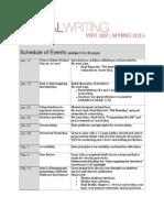 WRT 302 Schedule, Spring 2015