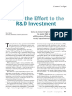Match the Effort to the R&D Investment