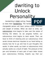 Handwriting to Unlock Personality