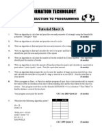 Programming Workshop Tutorial Sheet a, B, C