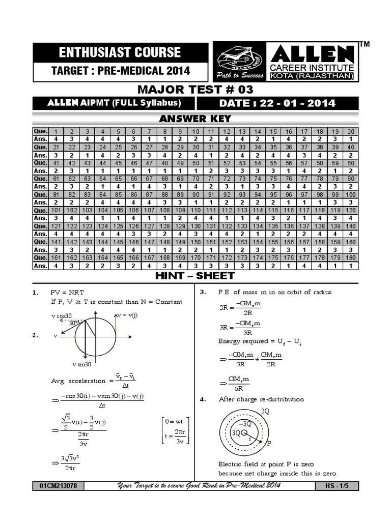 Answer Key(1) | Classical Mechanics | Physical Sciences
