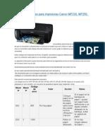 Códigos de Errores Para Impresoras Canon MP230
