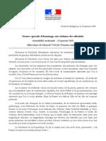 13.01.2015 Discours de Manuel VALLS, Premier Ministre - Séance Spéciale Dhommage Aux Victimes Des Attentats