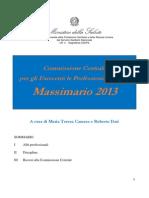 massimario della Commissione Centrale per gli esercenti delle professioni sanitarie anno 2013