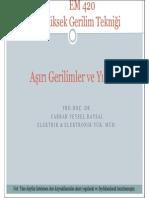 Yüksek Gerilim Tekniği - Erciyes Üniversitesi - Aşırı Gerilimler Ve Yıldırım
