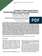 Preferred Breeding Habitats of Aedes Aegypti