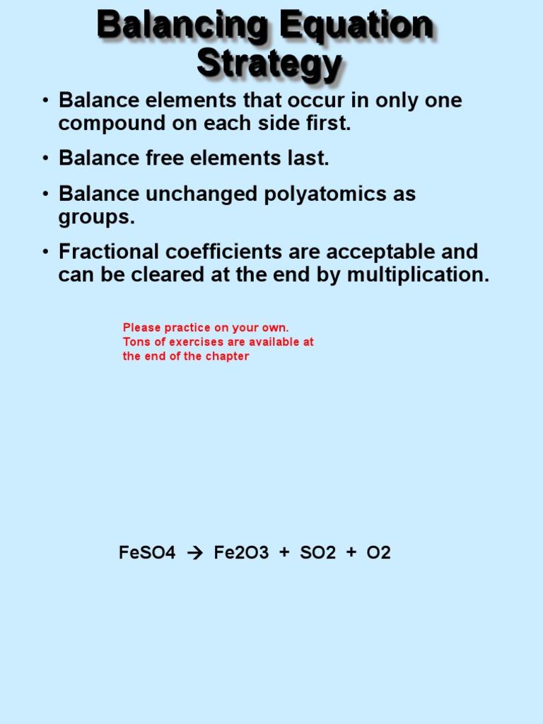 Chemical Reaction Balancing Stoichiometry Mole Unit