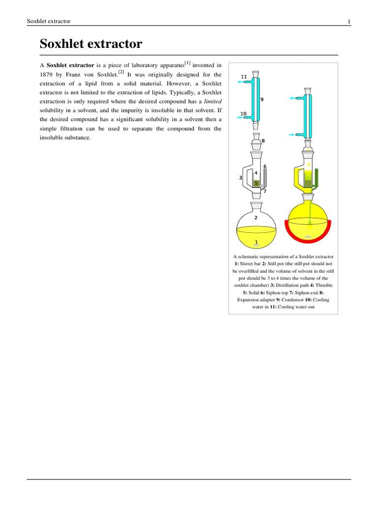 Soxhlet Extractor Laboratory Equipment Homogeneous Chemical Mixtures